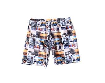 Boys Swimming trunks, swim shorts featuring street collage pattern