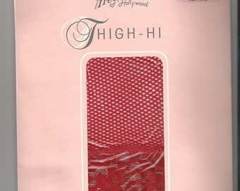 FREDERICK'S of HOLLYWOOD Red Lycra FISHNET Thi-Hi Stockings Sz P/S