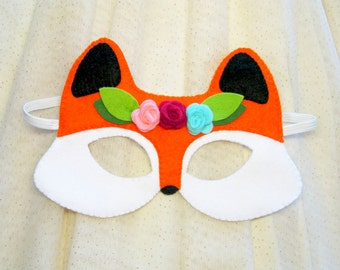 Fox mask for girl Orange Black White felt roses handmade gift forest animal costume kids adults dress up play accessory Theatre roleplay