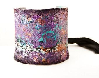Bohemian Bracelet, Ethnic Natural Jewelry, Turquoise Purple Orange Silver Black Leather Cuff
