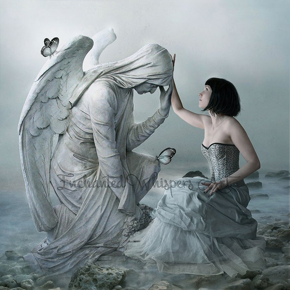 Gothic fantasy stone angel and woman art print