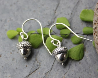 Small Acorn Sterling Silver Earrings - Achievement and Success  -oak, woodland - free shipping USA