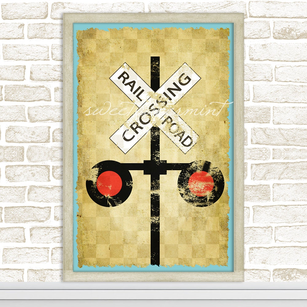 Vintage Railroad Crossing Zug Zeichen für jungen Rahmen
