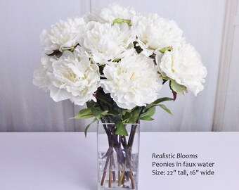 White, cream, pink, silk, peony/peonies, glass vase, faux water, acrylic/illusion, Real Touch flowers, tall, floral arrangement, centerpiece