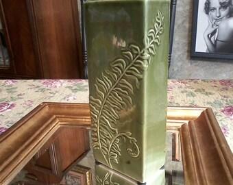 Green Fern Pottery Vase