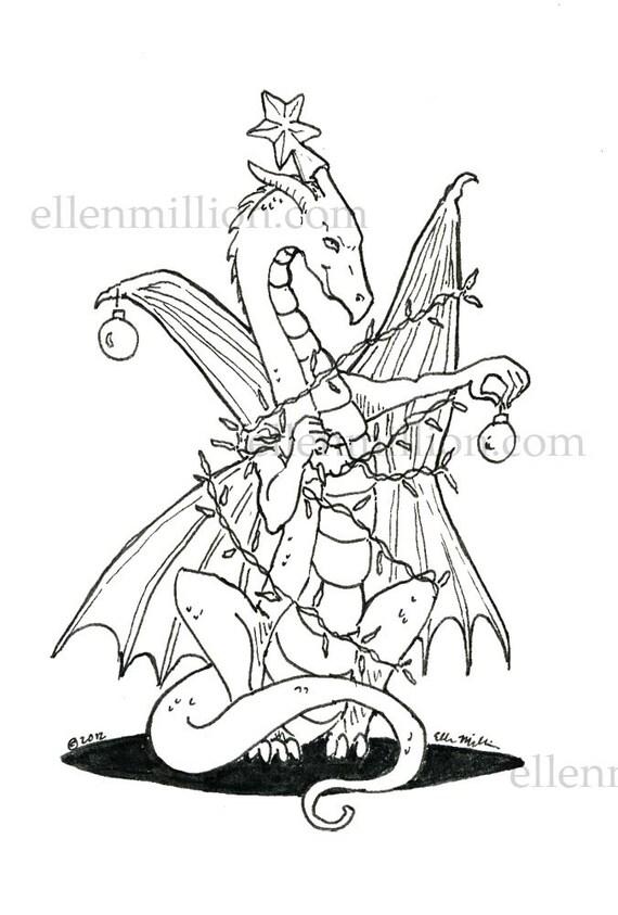Tangled Up Christmas Dragon Digi Stamp Digital Coloring Page