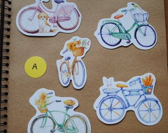 5 Cute Shaped Kawaii Bicycle Postcards for Snail Mail, Pen Pals, Journal Inserts, Scrapbooking, Party Bags, Stationery, Greetings Cards