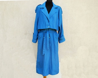 Vintage Trench Coat Classic Blue Trench Coat Women's Double Breasted Trench Coat Shoulder Pads Belted Lining Overcoat Raincoat Medium Size