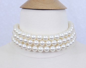 Large Pearl Choker, Three Strand Pearl Choker, Chunky Pearl Choker, Bridal Pearl Choker Necklace, Brides Maids Jewelry, 12mm Pearl Choker