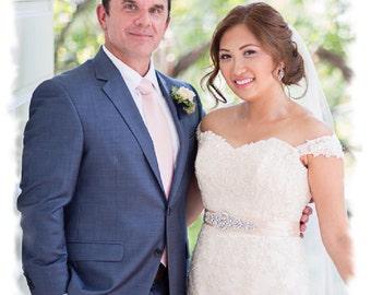 Blush Wedding Sash, Crystal Pearl Bridal Sash, Pearl Rhinestone Bridal Belt, Pearl Jeweled Vintage Style Wedding Dress Belt, No 4060S1.5