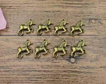 20 Unicorn Charms,Antique Bronze Tone,Double Sided,3D Charms-RS353