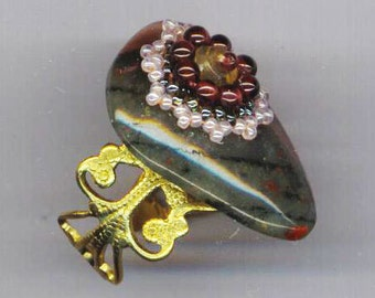 Adjustable Filigree Heart Agate Ring . Citrine Beadwoven Flower . Genuine Garnets . November Birthday - Wispers by enchantedbeads on Etsy
