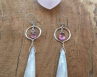 Pearl Chalcedony Earrings | Mystic Quartz Earrings | Pink Quartz Earrings | Gemstone Earrings | Bohemian Earrings