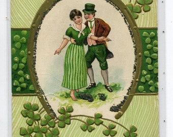 Irish Couple Good Luck St Patrick's Day Greeting 1910c postcard