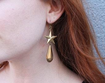 Twinkle Twinkle Brass Star and Teardrop Earring