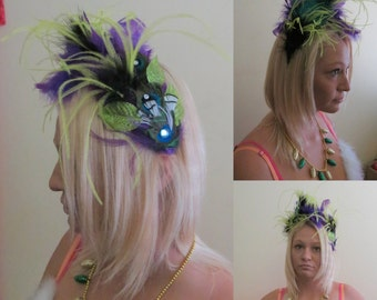 OOAK Tacky Ugly Christmas Sweater Party Head Band  Fun Unique and Perfect Accessory Feathers  Peacock Purple Ostrich feathers Headband,