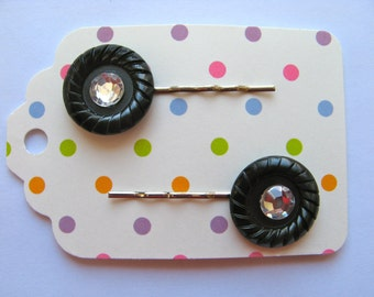 Button Bobby Pins - Vintage Buttons in Black with Gem Centers-  Silver Tone Bobby Pins - Set of 2