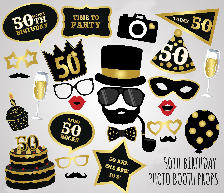 50th Birthday Photo Booth PropsPrintable 50th Birthday Photo
