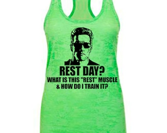 burnout workout tank, what is this rest muscle and how do i train it, funny workout tank, arnold tank, funny arnold tank, rest day tank