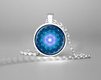 BLUE FLOWER of LIFE Necklace Mandala Necklace Flower Of Life Necklace Flower Of Life Jewelry Spiritual Necklace Sacred Geometry Zen Pendant