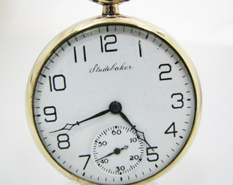 c550 Vintage 1924 Studebaker Open Face Pocket Watch - 10k Gold Filled