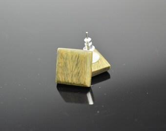 Square Stud Earrings / Lignum Vitae Wood Stud Earrings / by wood.wool.stone