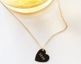 BEER Heart Charm Necklace