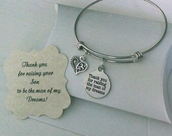 Mother In Law, Mother Of The Groom Gift, Thank You For Raising The Man Of My Dreams, Mother In Law Bracelet