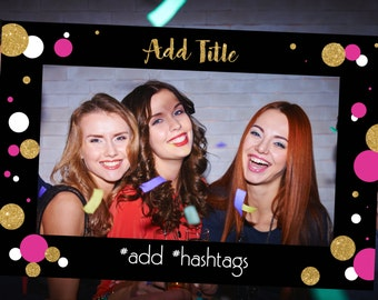Photo Booth Prop - Pink, Black & Gold Glitter - Girls Night Out, Bachelorette Party, Bridal Shower, Birthday Party