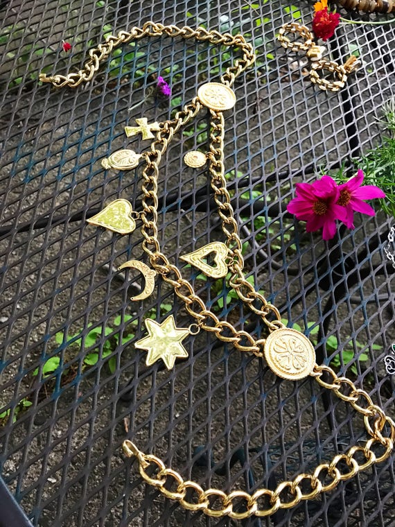 Vintage 80's Goldtone Chain Bling Hip Belt with dangling charms Made in Spain adjustable to 38 inches