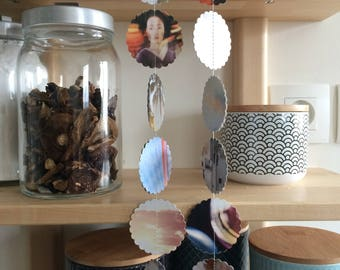 Unique repurposed paper garland mobile home decoration in neutral colors