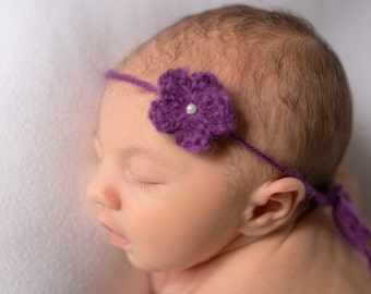 Baby Pearl Headband Newborn Pearl Headband, Infant Headband, Flower Newborn Tieback, Purple Flower Headband Tieback, Amethyst Newborn Girl