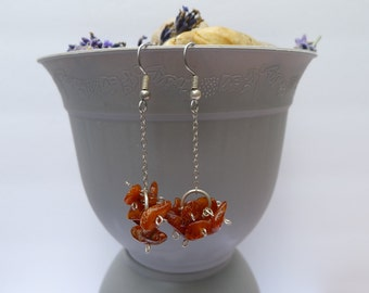 Amber Chip Cluster Silver Dangle-Lainey