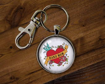 Band Mom Glass Keychain - Keyring, Key Holder, Key chain, Key ring, Winter Guard, High School Band, College Band, Marching Band, Drum Corps