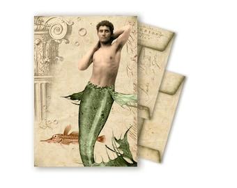Printable Envelopes Digital Collage Mermaid Merman Mermaid Vintage Ocean Beach