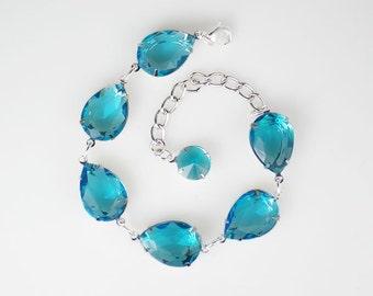 Rhinestone Bracelet, Aqua Bracelet, Adjustable Bracelet, Bridesmaid Gift, Wedding Jewelry, Gift for Her, Aqua Wedding, Bridal Party Gift