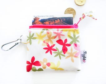 Kids' Oilcloth Coin Purse / Mini Wallet - Floral on White