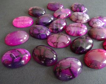 24x17x6mm Natural Dragon Veins Agate Gemstone Cabochon, Dyed, Oval Cabochon, Polished Stone, Purple Cabochon, Natural Agate Stone, Gemstone