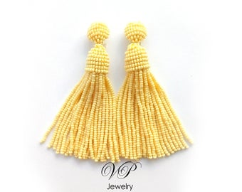 Beautiful Handmade Beaded Citron Yellow Tassel Clip on Earrings in the style of Oscar de la Renta. Custom colors available!