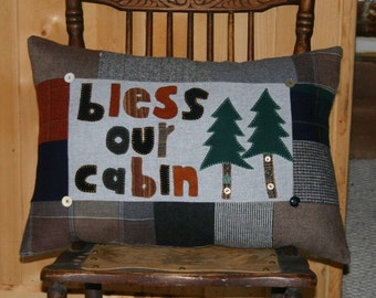 Wool Cabin Pillow Lodge Cabin Decor Bless our Cabin Upcycled Lodge Lakehouse