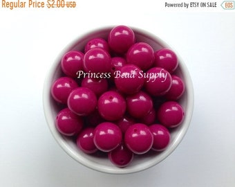 SALE 20mm Fuchsia Chunky Beads Set of 10,  20mm Solid Beads, Fuchsia Solid Bubble Gum Beads, Fuchsia Chunky Beads, Gumball Beads, Acrylic Be