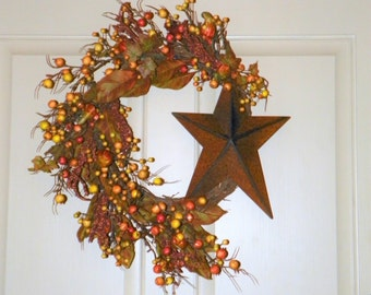 """Harvest Wreath with Folk Art Metal Star, Berries Gourds on a Birch Branch Base 20"""" Round Wreath Perfect for Your Entrance Living Room Dining"""