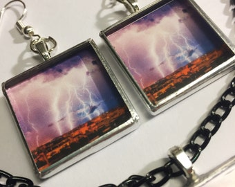 ITS ELECTRIC - lightning storm necklace and/or earrings -
