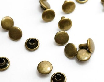 Double Cap Rivets Sm 8mm x 6mm - 50 pack Ant Brass