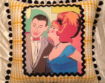 Kitsch Pee Wee Herman and Miss Yvonne Throw Pillow