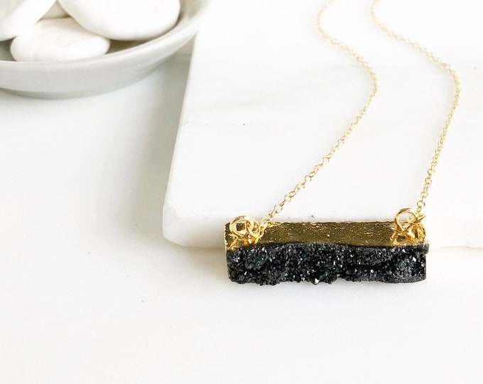 Druzy Bar Necklaces in Gold. Black Druzy Necklace. Bar Necklace. Geometric Druzy Necklace. Layering Necklace. Druzy Jewelry. Black Jewerly.
