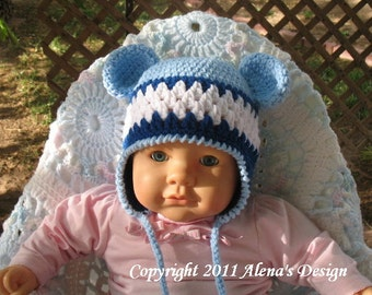 Crochet Pattern 002 - Crochet Hat Pattern - Hat Crochet Pattern for Hat with Bear Ears/ Blue - Baby Boy Baby Girl Toddler Child Winter Hat