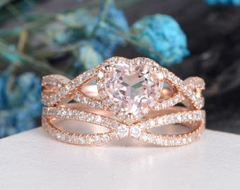 Rose Gold Morganite Ring Unique Engagement Ring Diamond Wedding Women Infinity Heart Shaped Half Eternity Bridal Set Halo Gift for Her