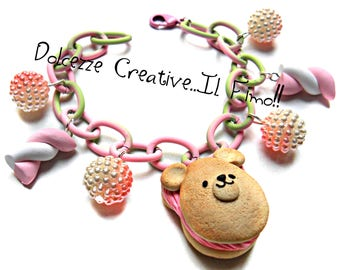 Bracelet - Marshmallow - Marshmallow cookie iced bear - topping ice cream with Strawberry and vanilla miniature, handmade