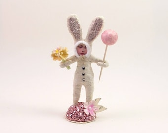 READY TO SHIP Spun Cotton Vintage Inspired Little Easter Bunny Child Figure